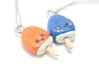 Kawaii Creamsicle Necklace, Miniature Food Jewelry, Polymer Clay Food Jewelry