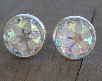 Frozen Snowflake Stud Earrings - Crystal Clear Ab Round Silver Ice Iridescent Druzy Style Button Kids Girls Rhinestone Blue Pink Gold