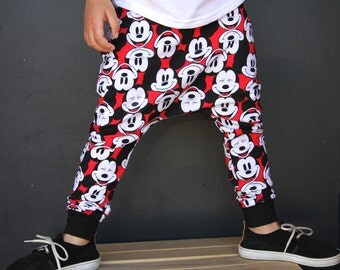 Mickey Mouse, Baby Boy Black and Red Mickey Harem PANTS or SHORTS: Etsy kid's fashion, toddler boy, toddler girl, trendy toddler, disney