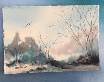Frozen in Time an Original Watercolour Painting 5x7 inches