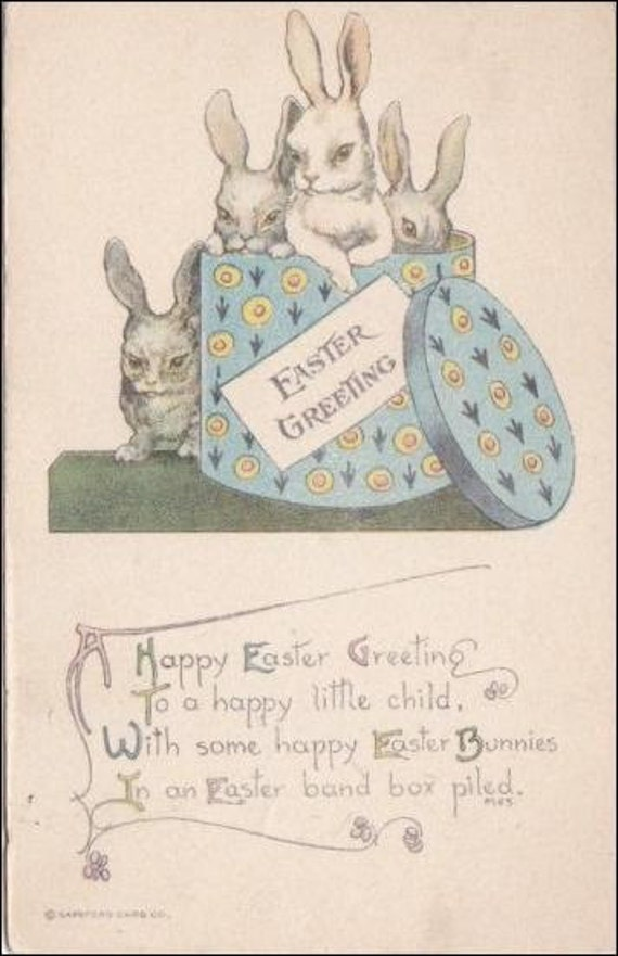 Easter postcard, Easter vintage postcard, Antique postcard, Easter Bunny rabbits play on hat box Vintage Postcard