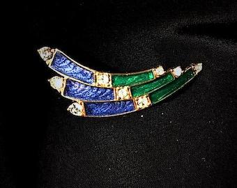 Trifari Vintage 1960s Enamel Rhinestones Brooch / Designer Signed 60s Art Deco Style Brooch Pin / Blue Green Curved Bars Arrows