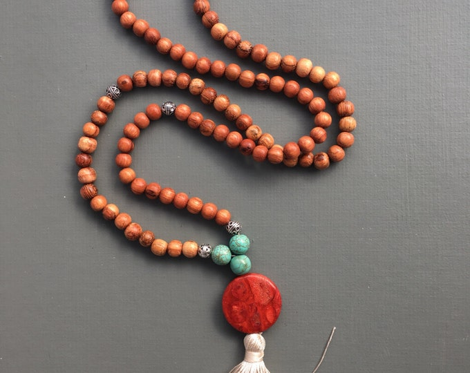 SALE- 64 now 48 southwest 108 bead traditional mala necklace with silk tassel, tassel necklace, long necklace, southwest