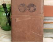 leather travel journal hand-printed custom for you - globe world map