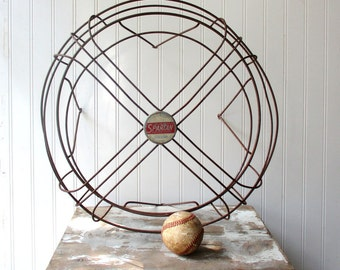 Vintage Spartan fan cage rusty metal wire 18 inch electric fan guard cover large industrial