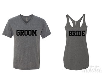 Couple Bride and Groom Grey Shirts Vneck and Tank top Style