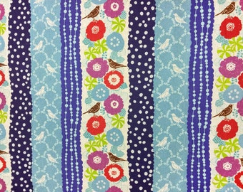 Echino by Etsuko Furuya - Cotton Linen Fabric - Peck EF701 Blues, 40 inches end of bolt
