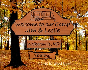 Wood Camper Sign RV of your choice  w/ add on Location and dogbone - Personalized Camping Sign - JG Wood Signs Family Camping Sign JimLeslie