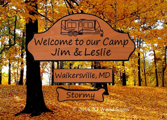Wood Camper Sign RV of your choice  w/ add on Location and dogbone - Personalized Camping Sign - JG Wood Signs - Family Camping Sign