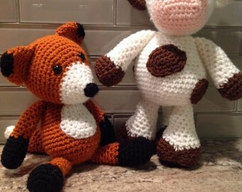 Amigurumi Fox - Cow Mouse - Turtle - Shower gifts - Baby reveal - toddler - Woodland - Farm - Stuffed Animals - Crocheted