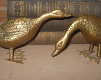 Vintage Brass Canadian Geese Shelf Sitters - Golden Duck Book Finials - Brass Bird - Pair of Ducks - Office Decor Paperweight