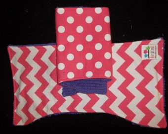 set of 2 coordinating Chevron and polka dot burp cloths