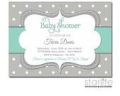 Mint and Gray Baby Shower Invitation Gender Neutral Polka Dots Mint Grey Sprinkle Invite Printable | Printed