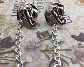 Elephant collar pins Cardigan clips collar clips silver sweater guards Collar Chains
