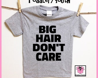 BIG HAIR Don't Care. Heather Gray Toddler or Youth t shirt. Childrens clothing. Curly hair. Afro hair. Natural hair.