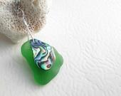 Green Sea Glass Necklace, Abalone Shell Pendant, Beach Glass Jewelry
