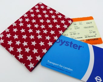 Oyster card holder, bus pass holder, travel card holder, wallet. Red star cotton.  Card wallet, Oyster card wallet, card holder.