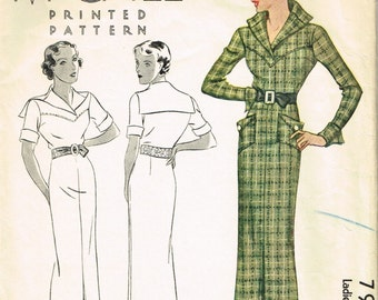VINTAGE 1930s McCall BELTED DRESS Pattern 7966 Sleeve Collar Pocket Options Very Stylish