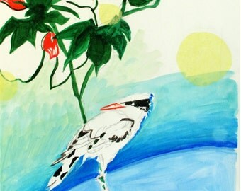 Japanese Oriole - Original Fine Watercolor Painting - Free Shipping U.S.