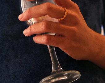 Braided ring-Gold braid ring-Promise ring-Stacking ring-Simple rings-Braid wedding ring-Thin rings
