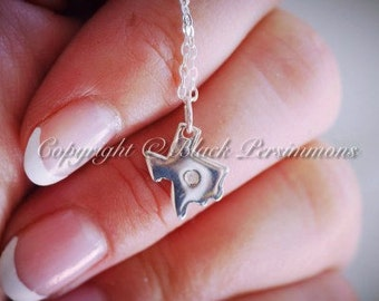 LAST ONE - Texas State with Genuine 1 Point Diamond Necklace - Solid 925 Sterling Silver Charm -  Insurance Included