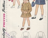 40s Simplicity 2218 Girls Suspender Skirt and Lumber Jacket or Brownie Girl Scout Uniform Sewing Pattern Size 1