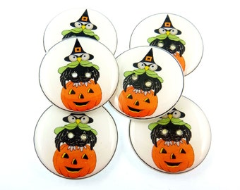 "Halloween buttons. 6 LARGE  Vintage Owl and Witch and Pumpkin Buttons.  Handmade by Me.  Washer and Dryer Safe.  1"" or 25 mm."