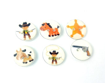 "6 SMALL Cowboy Buttons. Police Buttons. Cowboy, Sheriff star, Horse, Cow, Gun Buttons.. 1/2"" or 13 mm Round."