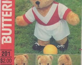 Butterick 201 4531 1980s 17 Inch  Stuffed Bear and Bear Doll Sports Wardrobe Pattern Vintage Toy Sewing Pattern UNCUT