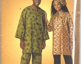 Simplicity 5152 Mens Womens Tunic Top Pants and  Headwrap Pattern Adult Teen Easy Sewing Pattern Size XS SM M L Xl Chest 30 - 48 UNCUT