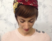 remade vintage tie turban / red paisley yellow dog bandana print pattern / upcycled reconstructed eco fashion
