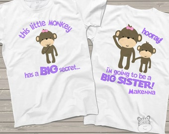 Big sister shirt - big sister to be pregnancy announcement shirt MONKEY secret