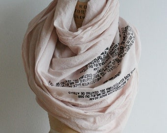 Sale, Cotton Text Scarf, Long Scarf, Fashion Accessories, Hand Printed, Hand Dyed