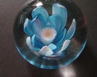Vintage Paperweight Lotus Flower