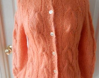 Vintage Mohair Wool Cardigan Sweater HANDMADE In ITALY PRISTINE
