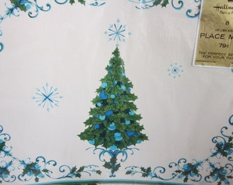 Vintage Unopened Hallmark Christmas Tree Placemats Green And Aqua With Extras: Coasters Napkins And Doilies