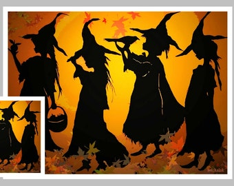 Funny Halloween Card, Witches Marching
