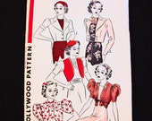 Bolero Jacket Pattern 1930s Hollywood Pattern Misses size 14 Simple to Sew 5 styles Vintage Sewing Pattern 30s