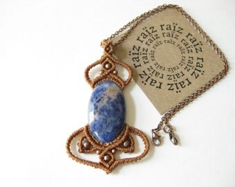 Boudoir Macrame Necklace Blue Stone Sodalite Pendant . Micro macrame & Copper Jewelry . Natural Earthy Boho Chic Jewellery . by raïz