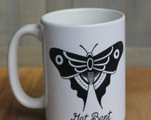 "Traditional butterfly tattoo ""Get Bent"" coffee mug! 15 ounce ceramic coffee cup with traditional butterfly tattoo design!"