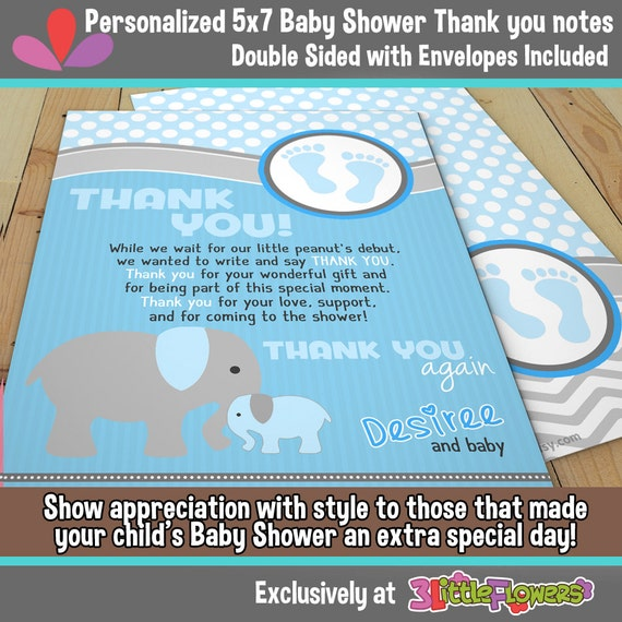 elephant baby shower personalized baby shower thank you notes 5 x 7
