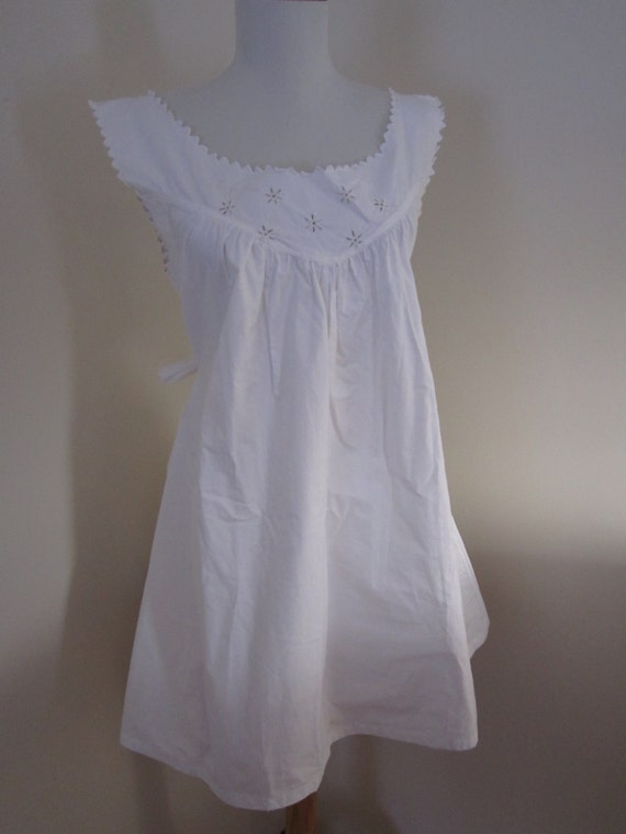 1930s White Cotton European Night Gown Eyelet Embroidery Belted France Small/Medium/Large Steampunk by petgirlvintage steampunk buy now online