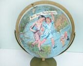 On Reserve for cheriebridges2: Handmade Altered Art Vintage Globe, Decoupaged, Replogle Land and Sea World Globe