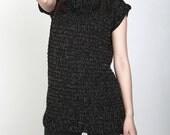 Hand knit crochet sweater crew neck sleeveless pullover sweater black tunic