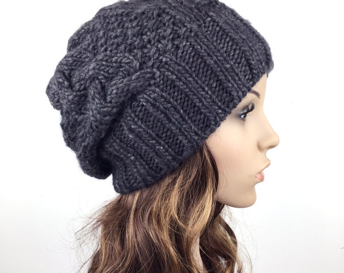 Hand knit hat Wool hat woman Hat Dark grey slouchy hat Charcoal hat