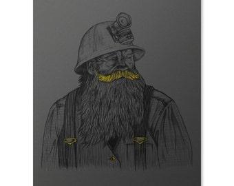 Gold Miner Art Print / Mustache Print / Movember Print / Miner Wall Art / Coal Miner Print / Home Decor / 8 x 10