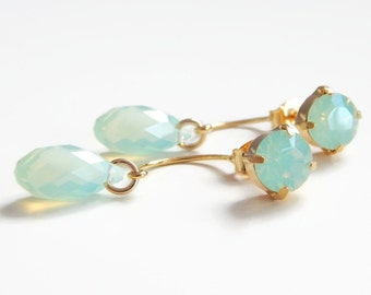 Sea foam green crystal ear jacket earrings - two in one - sea foam green earrings - mint green earrings