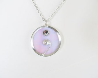 Women's Necklaces SemiColon Necklaces Silver Necklaces Stained Glass Pendant Necklace Stained Glass Jewelry Women's Jewelry