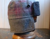 Furry Russian M: winter bomber earflap hat in grey and pink plaid tweed