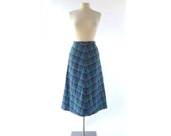 Plaid Midi Skirt | 60s Skirt | Irish Wool | Blue Plaid Skirt | 27W Small S